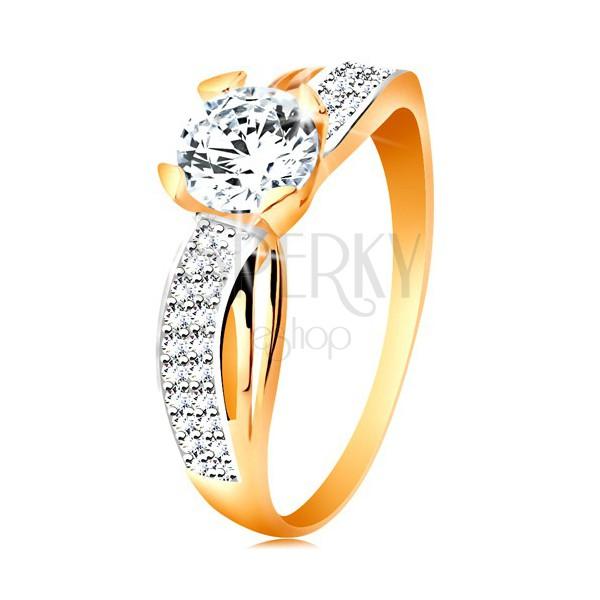 Prsteň zo 14K zlata - okrúhly zirkón čírej farby, trblietavá línia, úzke výrezy
