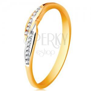 Prsteň v 14K zlate, rozšírené dvojfarebné konce ramien so vsadenými zirkónmi