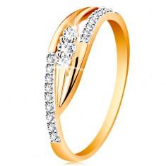 Zlatý prsteň 585 - lesklé zahnuté ramená, trblietavé pásy a tri zirkóny