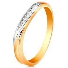 Dvojfarebný zlatý prsteň 585 - vlnka z bieleho zlata a drobných čírych zirkónov