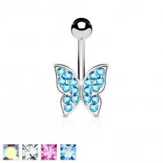 Piercing do bruška z chirurgickej ocele, trblietavý zirkónový motýlik