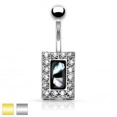 Oceľový piercing do brucha, čierny obdĺžnik s kúskami perlete, zirkónový lem