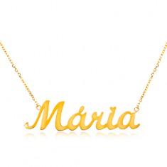 777845c33 Šperky eshop - Náhrdelník v žltom zlate 585 - jemná retiazka, lesklý  prívesok Mária GG198
