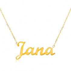 73ffe6fd8 Šperky eshop - Zlatý nastaviteľný náhrdelník 14K s menom Jana, jemná  ligotavá retiazka GG198.