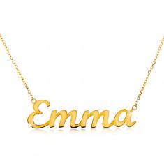Náhrdelník v žltom 14K zlate - tenká ligotavá retiazka, lesklý nápis Emma
