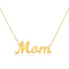 Zlatý náhrdelník 585 s nápisom Mom, tenká nastaviteľná retiazka