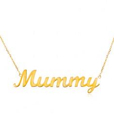 Náhrdelník zo žltého 14K zlata - jemná retiazka, lesklý prívesok - Mummy