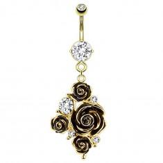 Piercing do pupku z ocele 316L zlatej farby, čierne ružičky a číre zirkóny