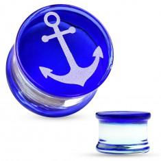 Sedlový plug z pyrexového skla, biela kotva na modrom podklade