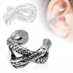 Fake piercing do ucha z ocele 316L, strieborná farba, patinovaný had