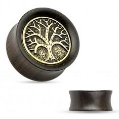 Tunel do ucha z ebenového dreva, vyrezávaný košatý strom, čierna patina