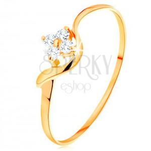 Prsteň zo žltého 14K zlata - kvietok z čírych diamantov, zvlnené rameno