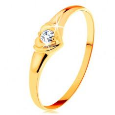 Diamantový zlatý prsteň 585 - ligotavé srdiečko so vsadeným okrúhlym briliantom