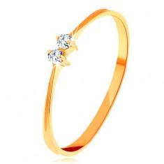 Briliantový zlatý prsteň 585 - tenké lesklé ramená, dva žiarivé číre diamanty