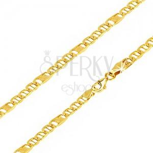 Retiazka zo žltého 14K zlata, oválne očká s paličkou, článok s mriežkou, 500 mm