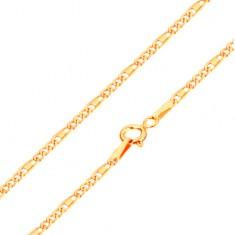 59be4caaf Šperky eshop - Retiazka v žltom 14K zlate - oválne a podlhovasté očká,  obdĺžnik,