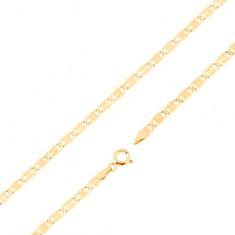 Retiazka zo žltého 14K zlata - väčšie ploché články, zárezy, obdĺžnik, 500 mm