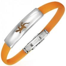 Plochý gumový náramok - jašterička, oranžový