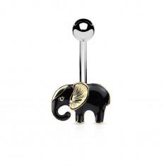 Piercing do pupku z chirurgickej ocele, sloník v čierno-zlatej farebnej kombinácii