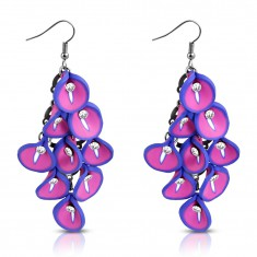 Náušnice FIMO - strapec ružovo-fialových kvetov kaly, číre zirkóny v strede