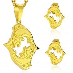 Set z ocele 316L zlatej farby - prívesok a náušnice, znamenie RYBY