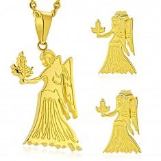 Sada z chirurgickej ocele zlatej farby, prívesok a náušnice, znamenie PANNA