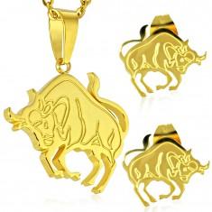 Oceľový set zlatej farby - prívesok a puzetové náušnice, znamenie BÝK