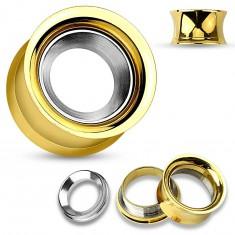 Oceľový tunel do ucha zlatej farby s kruhom v striebornom odtieni, vysoký lesk