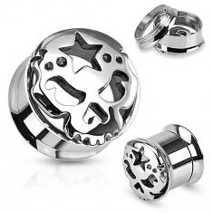 Šperky eshop - Tunel z chirurgickej ocele striebornej farby, lesklá lebka s hviezdou na čele AA20.26 - Hrúbka: 10 mm