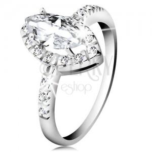 Ródiovaný prsteň, striebro 925, zrnko čírej farby so zirkónovým lemom