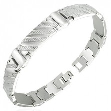 Oceľový náramok v hodinkovom štýle - pruhy