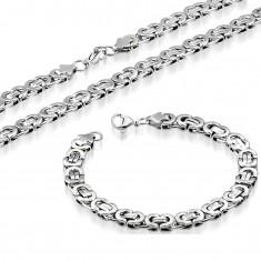 Set náhrdelníka a náramku, oceľ 316L striebornej farby, byzantský vzor