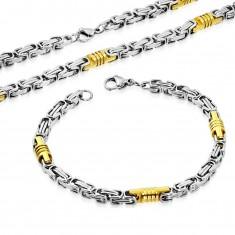 Sada z ocele 316L - náhrdelník a náramok, dvojfarebné články, valčeky so zárezmi
