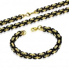 Sada z ocele 316L - náhrdelník s náramkom, články čiernej a zlatej farby