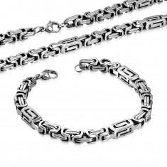 Set z chirurgickej ocele - náhrdelník a náramok striebornej farby, hranoly s výrezmi