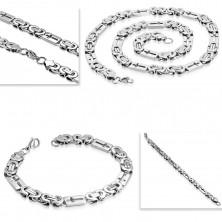 Sada z ocele 316L striebornej farby - náhrdelník a náramok, obdĺžniky s krížikmi