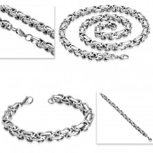 Oceľový náhrdelník a náramok, hrubá hranatá reťaz striebornej farby