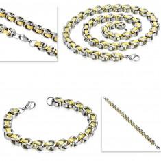 Sada z chiurgickej ocele - náhrdelník s náramkom, dvojfarebné články, grécky kľúč