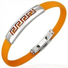 Oranžový gumový náramok - grécky kľúč
