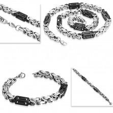 Set z ocele 316L - náhrdelník a náramok, dvojfarebné články, výrezy
