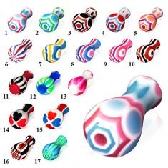 Akrylový plug do ucha, na jednom konci rozšírený, rôzne farby a vzory