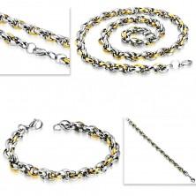 Oceľová sada - náhrdelník s náramkom, dvojfarebné oválne články