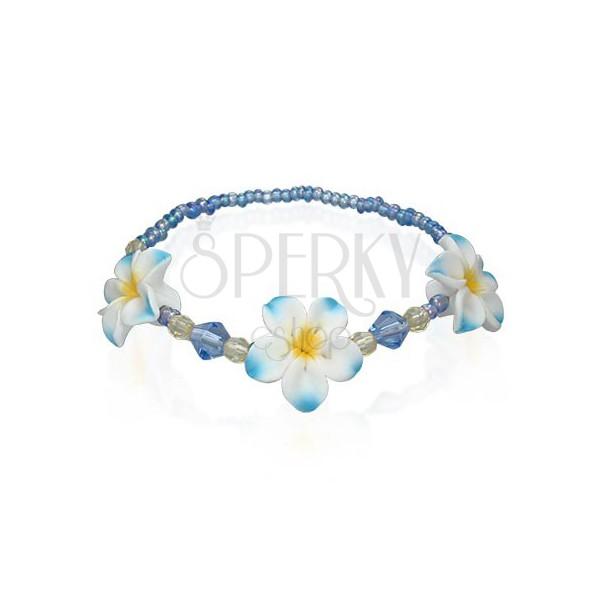 Fimo korálkový náramok s kvetmi, modrý