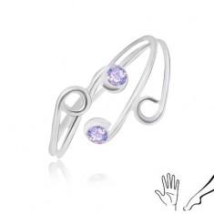 Prsteň zo striebra 925 na ruku alebo nohu, tenké ramená s fialovými zirkónmi