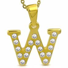 Prívesok z chirurgickej ocele zlatej farby, tlačené písmeno W zdobené zirkónmi