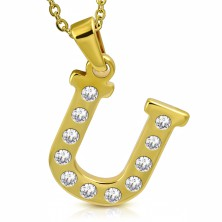 Prívesok z chirurgickej ocele zlatej farby, tlačené písmeno U zdobené zirkónmi