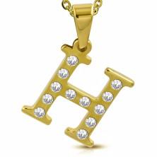 Oceľový prívesok v zlatom odtieni, písmeno H vykladané čírymi zirkónmi