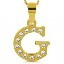 Prívesok zlatej farby, chirurgická oceľ, tlačené písmeno G zdobené zirkónmi