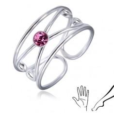 Šperky eshop - Strieborný prsteň 925 - okrúhly svetlofialový zirkón, zdvojená slučka AA31.05