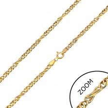 Retiazka zo žltého zlata 585 - osmičkové a oválne očká, 450 mm
